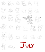 July Daily Doodles by Peeka13