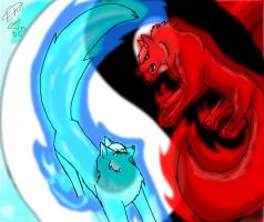 yin and yang fire and ice by Tip-the-cat