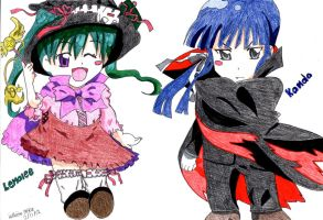 Lenalee and Kanda Halloween coloured by Claybirdies