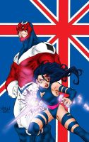 Captain Britain and Psylocke by MarcBourcier