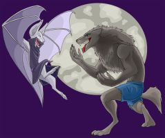 Vampires vs Werewolves by kiraxlee