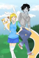 Fiona and Marshall Lee ft Cake colored by 8DarkAngel8