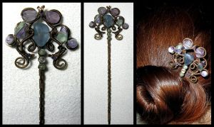 Sea dusk hairpin by JSjewelry