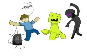 Minecraft monster party by Mearow