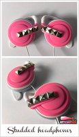 Studded headphones in neon pink by Ketchupize