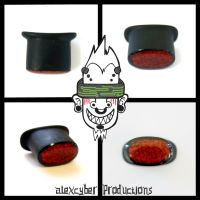 Delrin labret plug with stone inlay by AlexCyber-BodyArt