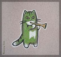 Green cat with the horn by kotokto