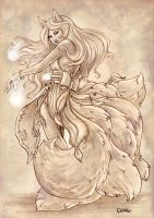 Ahri - Fanart - League of legends by o0dzaka0o