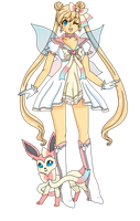 Usagi and Sylveon by Sailor-Serenity