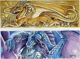 Dragon bookmarks set A by Hbruton