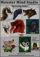 -Sale over- Commissions Open! $10 headshot sale! by MonsterMindStudio