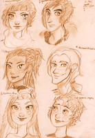 Free Headshot Sketches (1/2) by maybelletea