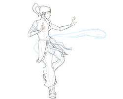 Korra Bending (sketch) by seyrii