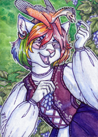 crystal_fox ACEO trade by thedancingemu