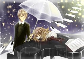 Deemo : Music in the rain by SoleilRune