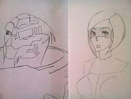 EDI and Garrus sketches by Robotgirl2010