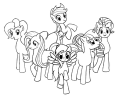 My Little Ponies Lineart by SeeminglyCaptivating