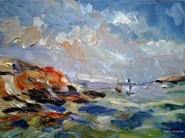 Sailing Boats in the Bay of Cala Portinatx by Art-deWhill