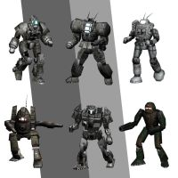 Blender Battletech mechs 6 by pickledtezcat