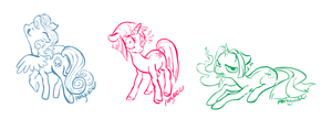 Sketch Commission: Lenore ponies by ponywise