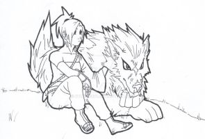 Gaia - A ninja and her wolf by otokage87