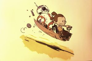 #starwars #rey #bb8 #calvinandhobbes spraypaint by toolowbrow