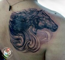 Horse Cover up by DallierTattoo