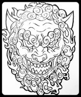 Shisa Japanese Lion (Line Art) by RaphtureTARTS