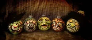 Hand Painted Horror Ornaments by asconch