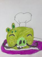 Chef Pig Wrapped Around Fifi's Tail by nintendolover2010