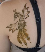 Henna Peacock on Shoulder by flowerwills
