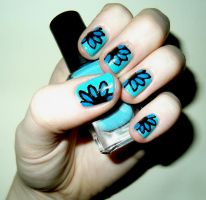 Blue Flower Nails by RoxysSlushPuppie