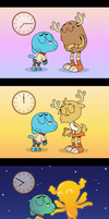 Penny and Gumball at three different times by Culu-Bluebeaver