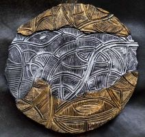 Dreamtime - Ceramic Discus 9 gold/silver small by ArtGenEeRing