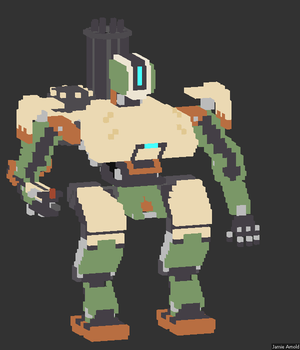Voxel Bastion from Overwatch by FinalFart