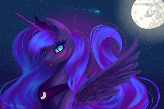 Princess Luna Redraw by rick-wombat