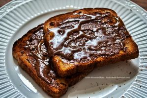 Choc. Almond Butter toast by Apeanutbutterfiend