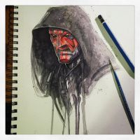 Saucy Sketch - Darth Maul by RobDuenas