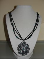 Necklace: Black and Turquoise by allykat