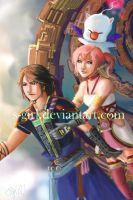 OTP3: Final Fantasy XIII-2 Noel, Serah, and MOOOog by s-girl