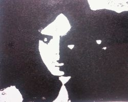 lino print of me by ratticuss