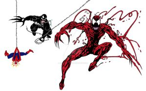 Carnage Venom and Spider-Man by JesseAllshouse