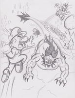 Mario V.S. Behemoth by JamesmanTheRegenold