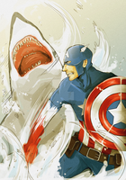 Captain America vs. SHARK by magicalzebra