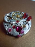 Maroon Moon Beams Victorian Steampunk Antique Pin by A-Sharper-Spectrum