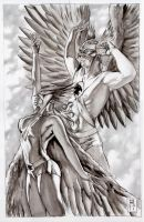 Hawkgirl and Hawkman by GeneEspy