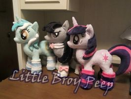 MLP Twilight sparkle, octavia and lyra Plushie by Little-Broy-Peep
