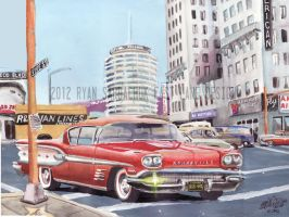 1958 Pontiac Bonneville On Hollywood Blvd Painting by FastLaneIllustration
