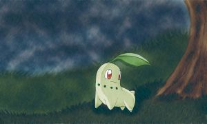 Chikorita Rain xDD by Fairu