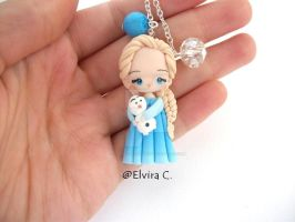 Elsa and olaf necklace by elvira-creations